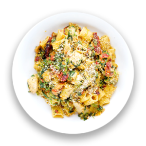 Chicken Florentine Rigatoni Bake with Sun-Dried Tomatoes