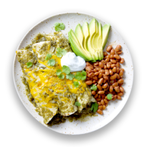 Chicken Enchiladas Verdes with Avocado & Pinto Beans