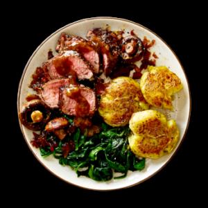 Sirloin Steak with Smashed Yukon Potatoes  &  Three Peppercorn Sauce