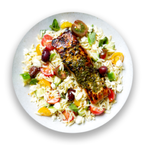 Souvlaki-Marinated Salmon with Greek Orzo Salad