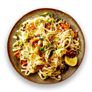 Lemon Pepper Pasta with Artichokes  &  Sweet Peppers
