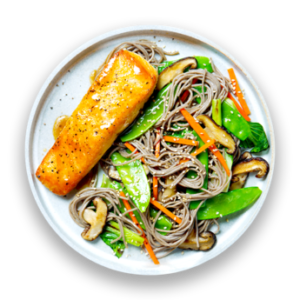 Miso-Glazed Salmon with Soba Noodles  &  Snow Peas
