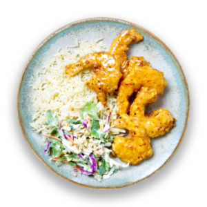 Sweet Chili Shrimp with Coconut Rice  &  Thai Coleslaw