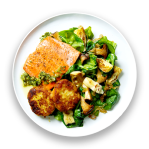 Pan-Roasted Salmon with Leek Patties, Sauteed Greens & Salsa Verde