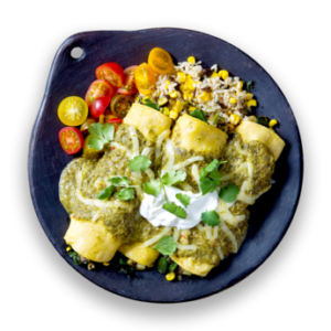 Salsa Verde Spinach Enchiladas with Corn  &  Black Bean Rice