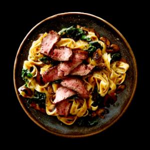 Tuscan Sliced Steak with Mushrooms  &  Fettuccine in Three Peppercorn Sauce