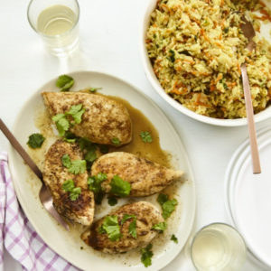 Cast-Iron Coriander Chicken and Curry Rice Pilaf