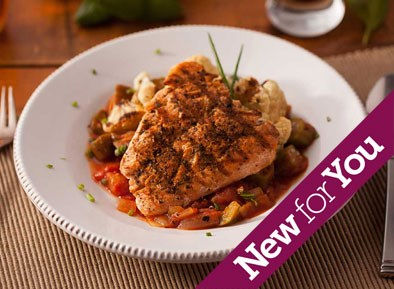 Blackened Salmon with Creole Tomato Okra Stew