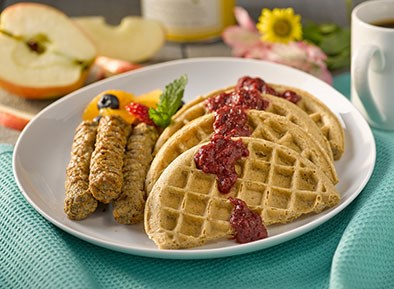 7 Grain Waffles with Strawberry Compote