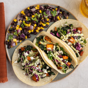 Sweet Potato & Kale Tacos, Sauteed Corn