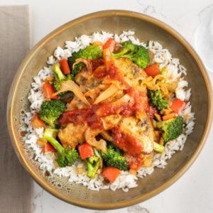 Korean Chicken & Rice, Broccoli
