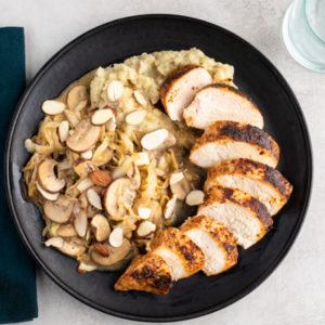 PALEO Paprika Chicken with Creamy Cabbage & Mushrooms, White Sweet Potatoes