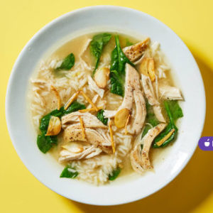 Miso Chicken & Rice Soupwith Spinach and Frizzled Ginger