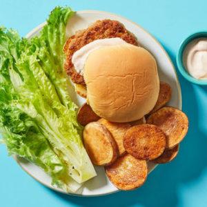 Buffalo Chicken Burgerwith Crispy Potatoes & Wedge Salad