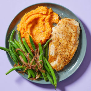 Seared Chicken & Green Beanswith Mashed Sweet Potatoes