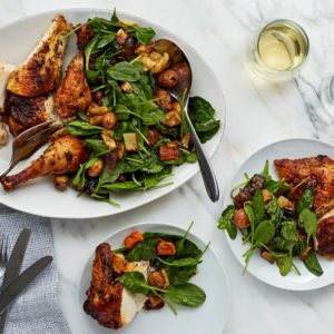 Roasted Lemon Herb Chicken with Warm Vegetable & Spinach Salad