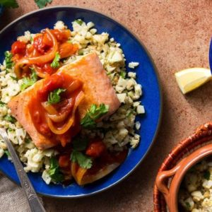 "Moroccan salmon in chraime sauce with cauliflower ""couscous"""