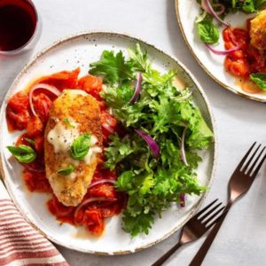 Chicken Parmesan with house salad