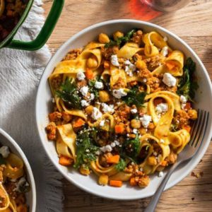 Fresh pappardelle with chorizo, chickpeas, and ricotta salata