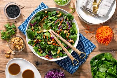 Organic rainbow Asian salad