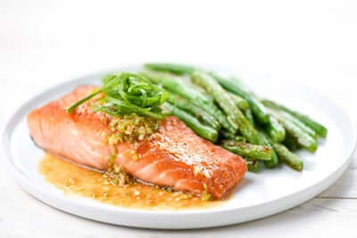 Roasted Salmon with Ginger-Scallion Sauce
