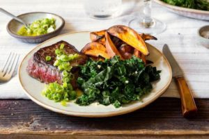 Steak and roasted sweet potato with scallion-ginger relish