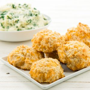 Easter Sides: Spinach and Three Cheese Mashed Potatoes and Cheddar-Thyme Biscuits