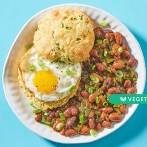 BBQ Baked Beans & Fried Eggswith Cheesy Scallion Biscuits