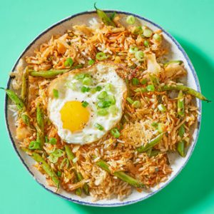 Kimchi Fried Ricewith Green Beans & Crispy Eggs