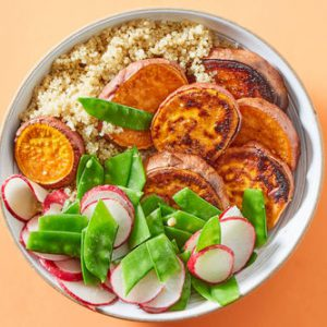 Miso-Glazed Sweet Potatoeswith Quinoa & Spring Veggies