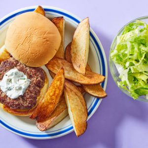 Sour Cream & Onion Burgerwith Crispy Potatoes & Romaine Salad