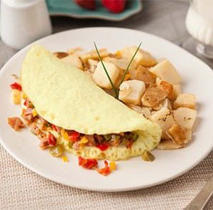 Western Omelet with Roasted Potato and Onion Hash