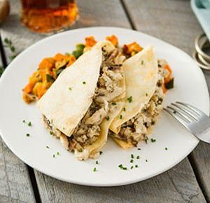 Chicken Mushroom Crepe with Sweet Potato Hash
