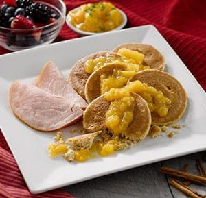 Cinnamon Sweet Potato Pancakes with Peach Compote
