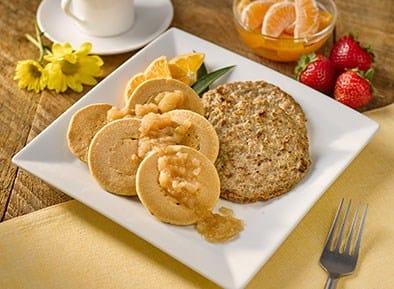 Cinnamon Sweet Potato Pancakes with Apple Compote