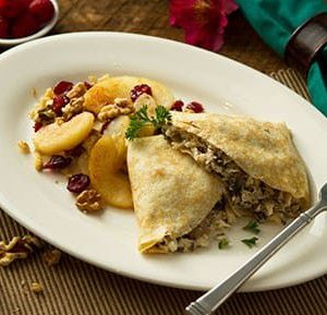 Chicken Mushroom Crepe with Cinnamon Apples