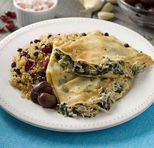 Greek Chicken Crepe with Fruited Quinoa