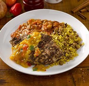 Jerk Spiced Chicken with Brown Rice and Pigeon Peas
