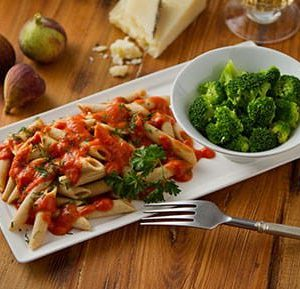 Penne Pasta with Three Cheese Tomato Sauce
