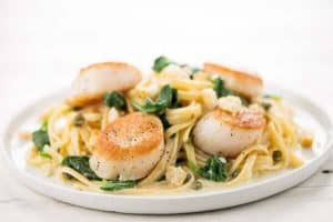 Scallops with Lemon-Caper Pasta home chef