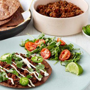 Vegetarian Tostada with Quinoa, Lentils & Hot Honey Salad