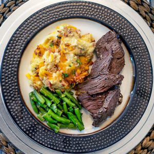 Steak with Loaded Cauliflower Mash