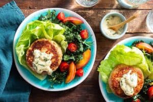 LETTUCE WRAPPED TURKEY BURGERS WITH TARRAGON MAYO sun basket