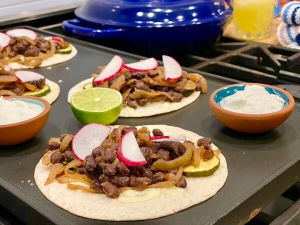 Black beans and caramelised onion tacos by Blue apron